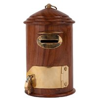 Wooden Mail Letterbox Shaped Money Kid Kids Piggy Bank Coin Box Decor Gift Item