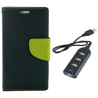 MERCURY Wallet Flip case Cover for Samsung Galaxy J5  (BLUE) With Usb hub