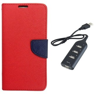 MERCURY Wallet Flip case Cover for  Micromax Canvas Xpress 2 E313 (RED) With Usb hub