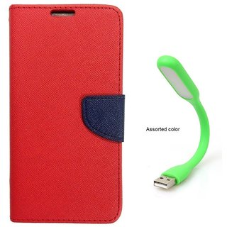 MERCURY Wallet Flip case Cover for HTC One E9+ (RED) With Usb Light