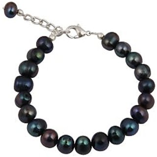 Pearlz Ocean  Dyed Bluish Black Fresh Water Pearl 7.5 Inches Bracelet