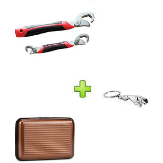 Snap N Grip Red Steel Wrench And Brown Aluma Wallet With Free jaguar keychain