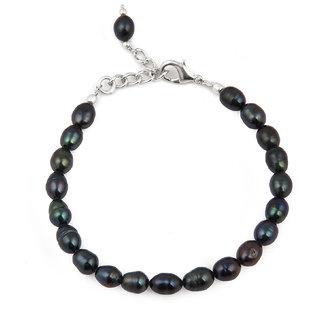Pearlz Ocean 7.5 Inch  Dyed Black Fresh Water Pearl Bracelet