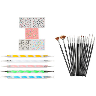 Looks United 15 Nail Art Brushes, 5 Dotting Tool And 5 Self Adhesive Sticker Sheets ( Pack of 25 )  (Multi)