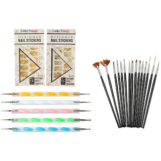 Looks United 15 Nail Art Brushes, 5 Dotting Tools And 2 Golden Pre-Designed Sticker Sheets ( Pack of 22 )  (Multi)