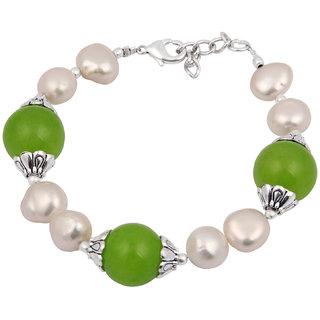 Pearlz Ocean Summer Flair Fresh Water Pearl  Quartzite Beads 7.5 Inch Bracelet