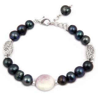 Pearlz Ocean Misty Eyed Fresh Water Pearl  Quartzite Beads 7.5 Inch Bracelet