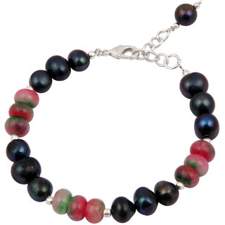 Pearlz Ocean Color Spectacle Fresh Water Pearls  Quartzite Beads 7.5 Inch Bracelet