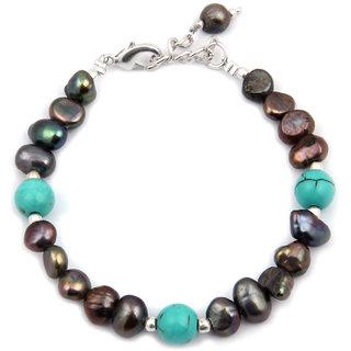 Pearlz Ocean Black Beauty Fresh Water Pearl  Howlite Bead 7.5 Inch Bracelet