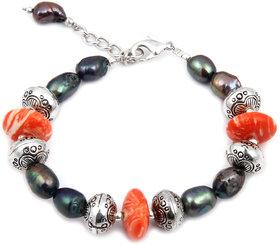 Pearlz Ocean Pomp Show Mosaic  Fresh Water Pearl 7.5 Inch Bracelet