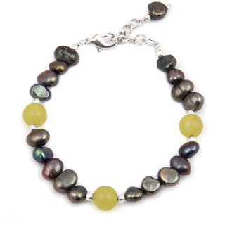Pearlz Ocean Prismatic Quartzite Bead  Fresh Water Pearl 7.5 Inch Bracelet