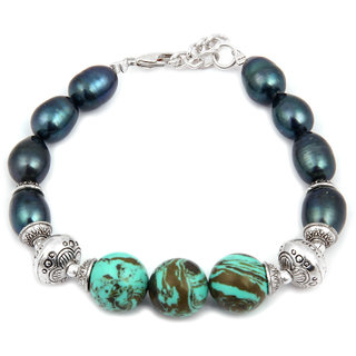 Pearlz Ocean Carisma Fresh Water Pearl  Mosaic Beads 7.5 Inch Bracelet