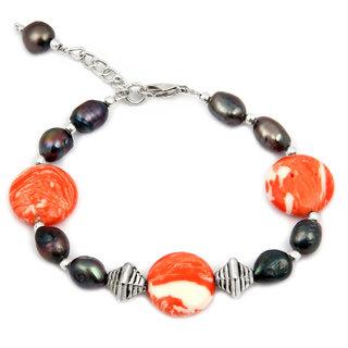 Pearlz Ocean Shocker Fresh Water Pearl  Mosaic Beads 7.5 Inch Bracelet