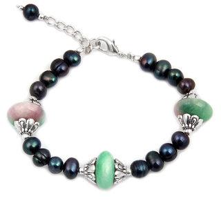 Pearlz Ocean Olivia  Quartzite Bead  Fresh Water Pearl 7.5 Inch Bracelet