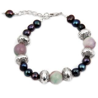 Pearlz Ocean Dazzler Quartzite Beads  Fresh Water Pearl 7.5 Inches Bracelet