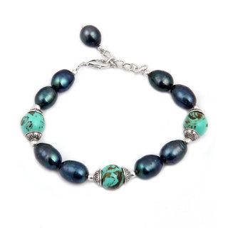 Pearlz Ocean Deep Lustre Mosaic  Fresh Water Pearl 7.5 Inch Bracelet