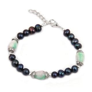 Pearlz Ocean Bon Aplomb Fresh Water Pearl  Quartzite Beads 7.5 Inches Bracelet