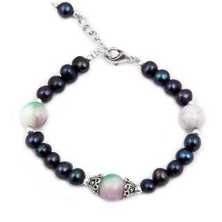 Pearlz Ocean Boho Glam Quartzite  Fresh Water Pearl 7.5 Inches Bracelet
