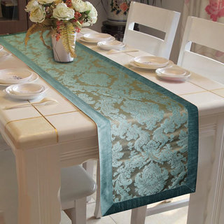Lushomes Blue Jacquard Runner with High Quality Polyester Border