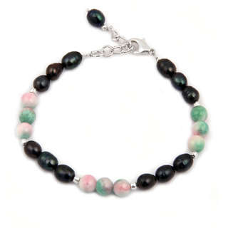 Pearlz Ocean Patterned Love  Fresh Water Pearl  Quartzite Beads 7.5 Inches Bracelet