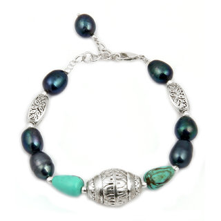 Pearlz Ocean Sparkler Mosaic Beads  Fresh Water Pearl 7.5 Inches Bracelet