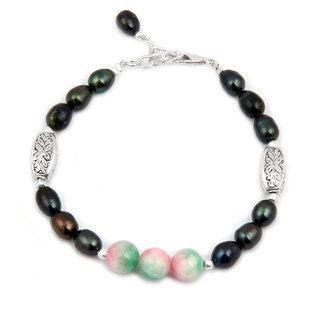 Pearlz Ocean Ethnico Quartzite  Fresh Water Pearl 7.5 Inch Bracelet
