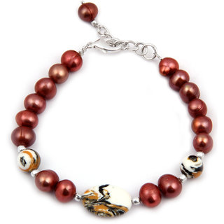 Pearlz Ocean Gregarious Mosaic Beads  Fresh Water Pearl 7.5 Inches Bracelet
