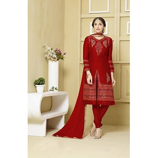 Thankar Red  Orange  Embroidered Glace Cotton Straght Suit  Lehenga