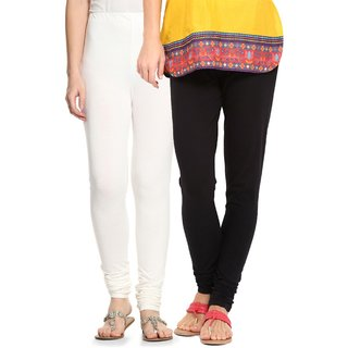 Amul Florio Churidhar White  Black Leggings