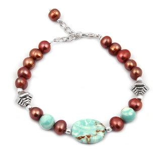 Pearlz Ocean Miss Gossip Fresh Water Pearl  Mosaic Beads 7.5 Inch Bracelet
