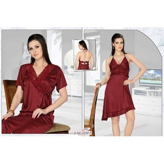 615dae8a66a4 Womens Sleepwear 2pc Babydoll Over coat 2038A Daily Night Dress RObe Set  Maroon Lounge Wear Bed room Nightie