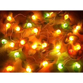 DIWALI DECORATIVE FLOWER RICE LED LIGHT FOR FESTIVAL PUJA HOME DECOR RICE STRING - SET OF 2