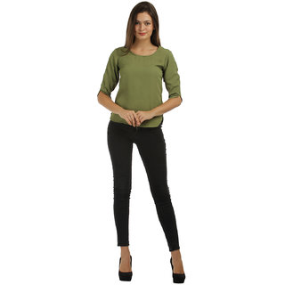 Abrati Olive Twist Back Top