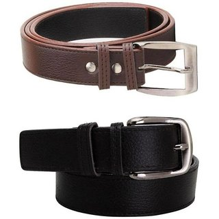 Loopa synthetic Leatherite black and brown needle pin point buckle combo belt (Pack of two) (Synthetic leather/Rexine)