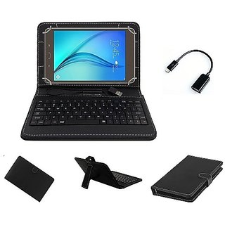 SAMSUNG GALAXY TAB-4 Usb Keyboard Case Cover - Black with OTG Cable By Krishty Enterprises