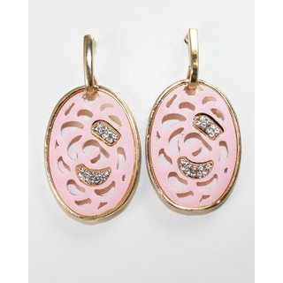 Pretty Pink Earring With Little Gold Tone