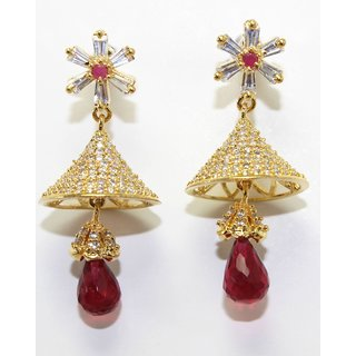 Simple Jhumki With Red Colored Stone Drop