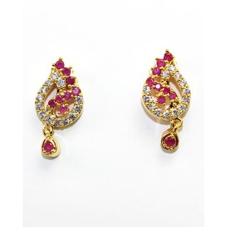 Small Tops With CZ  Red Stones