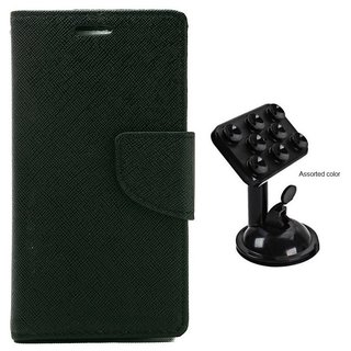 MERCURY Wallet Flip case Cover for Sony Xperia C4 (BLACK) With Universal Car Mount Holder