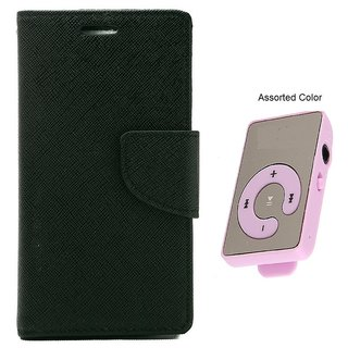MERCURY Wallet Flip case Cover for Lenovo A6000 (BLACK) With Mini MP3 Player