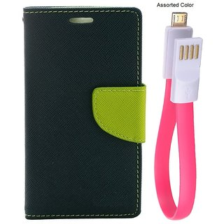 MERCURY Wallet Flip case Cover for Samsung Z1 (BLUE) With power bank usb cable