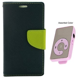 MERCURY Wallet Flip case Cover for  Sony Xperia T2 (BLUE) With Mini MP3 Player