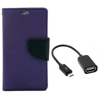 MERCURY Wallet Flip case Cover for Reliance Lyf Flame 1 (PURPLE) with micro usb otg cable