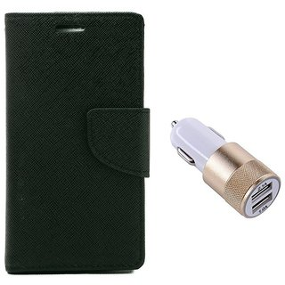 MERCURY Wallet Flip case Cover for Lenovo A5000 (BLACK) With Usb Car Charger Adapter