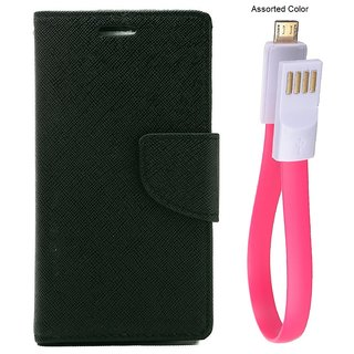 MERCURY Wallet Flip case Cover for  Micromax Canvas Selfie 3 Q348 (BLACK) With power bank usb cable