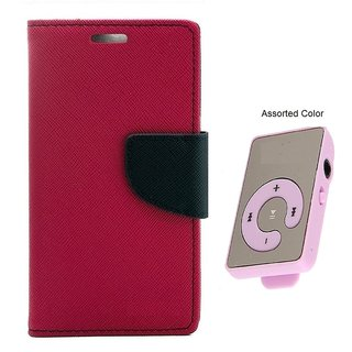 MERCURY Wallet Flip case Cover for  Micromax A102 Canvas Doodle 3 (PINK) With Mini MP3 Player