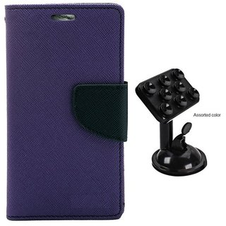 MERCURY Wallet Flip case Cover for Samsung Galaxy E5 (PURPLE) With Universal Car Mount Holder