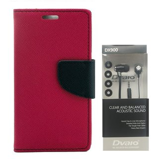 MERCURY Wallet Flip case Cover for  Micromax Bolt Q335 (PINK) WITH CLEAR EARPHONE