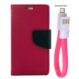 MERCURY Wallet Flip case Cover for Reliance Lyf Flame 4 (PINK) With power bank usb cable
