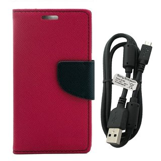 MERCURY Wallet Flip case Cover for  Micromax Canvas Spark Q380 (PINK) With Genuine USB Charging Data Cable